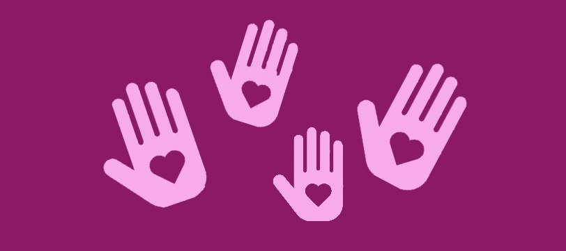 Hands with hearts on a purple-pink background.